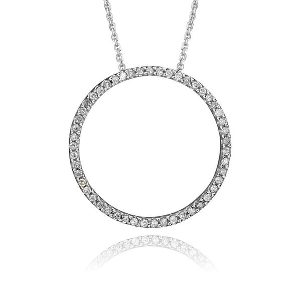 14K White Gold Diamond Circle Pendant including chain (TEC)