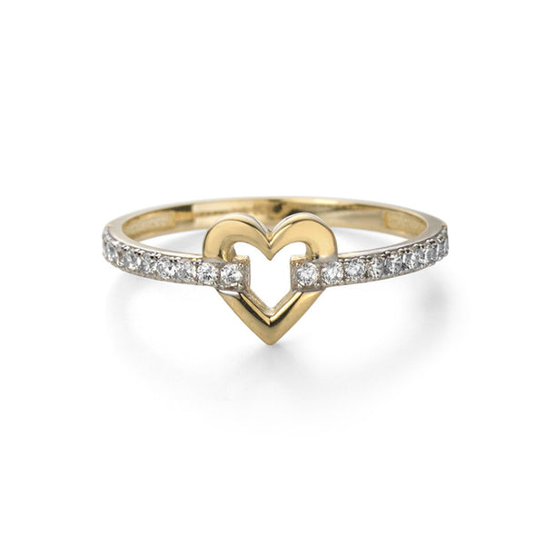 14K Yellow Gold and Cubic Zirconia Heart Ring