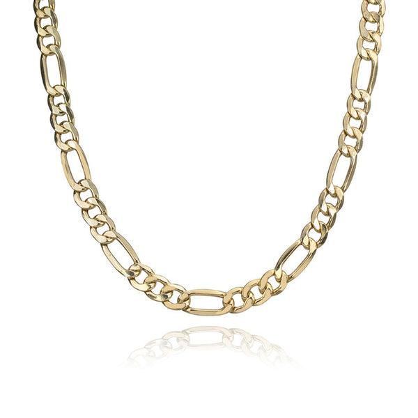 10K Yellow Gold Figaro Link Necklace