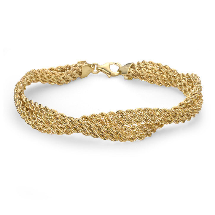 18K Yellow Gold Multi Strand Rope Link Twisted Bracelet