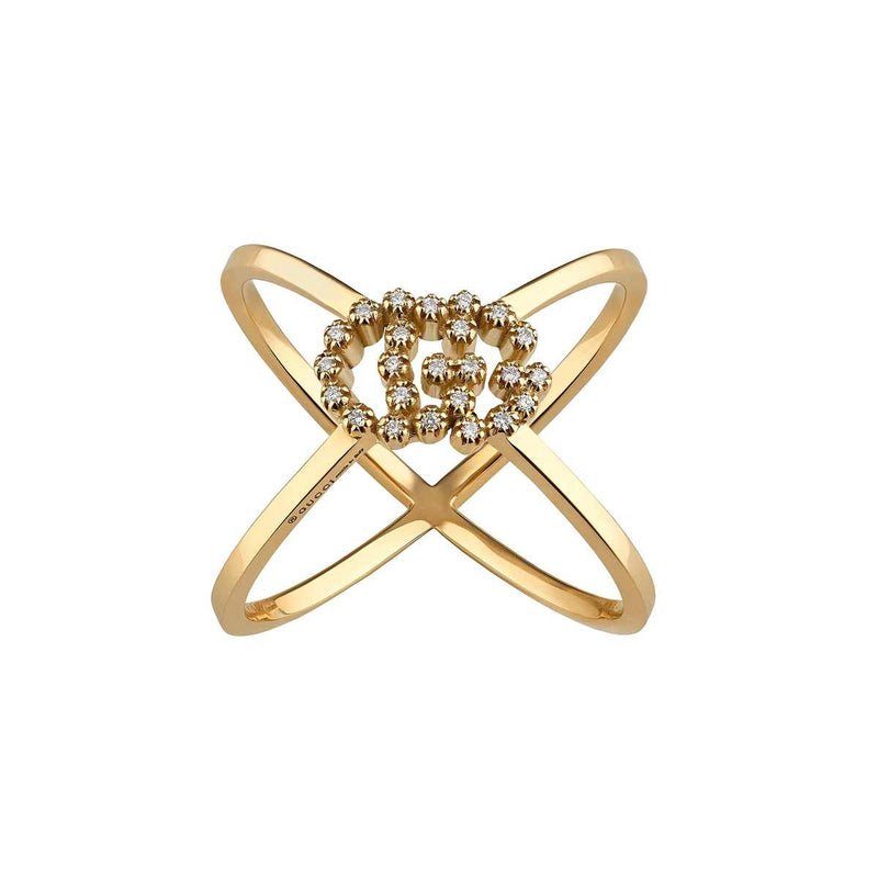 Gucci Yellow Gold GG Running Diamond X Ring