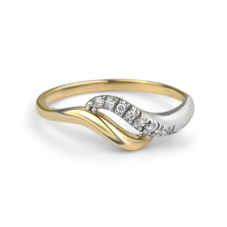 14K Yellow and White Gold Diamond Wave Ring