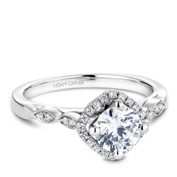 Noam Carver 14K White Gold Floral Diamond Engagement Ring (B084-01A)