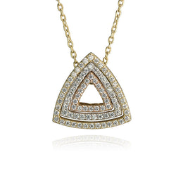 10K Tri Colour Gold Cubic Zirconia Trigon Pendant