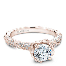 Noam Carver 14K Rose Gold Floral Diamond Engagement Ring (B081-02RA)