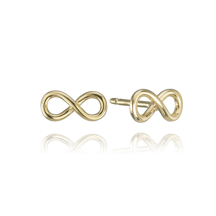 18K Yellow Gold Infinity Study Earrings