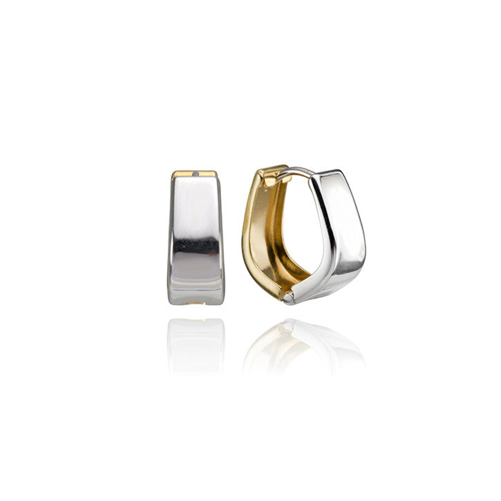 18K Yellow and White Gold Two Toned Hinged Hoop Earrings