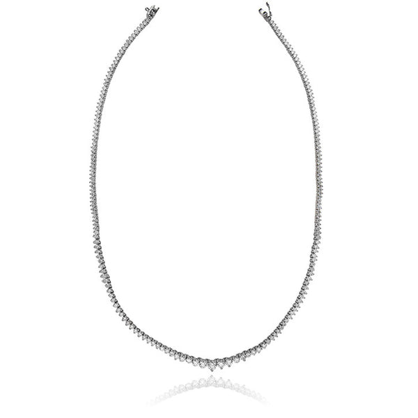 14K White Gold Diamond Tennis Necklace 7 ctw