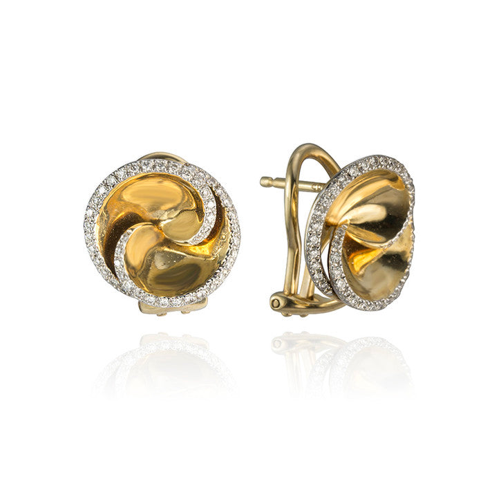 14K Yellow Gold Diamond Swirl Stud Earrings