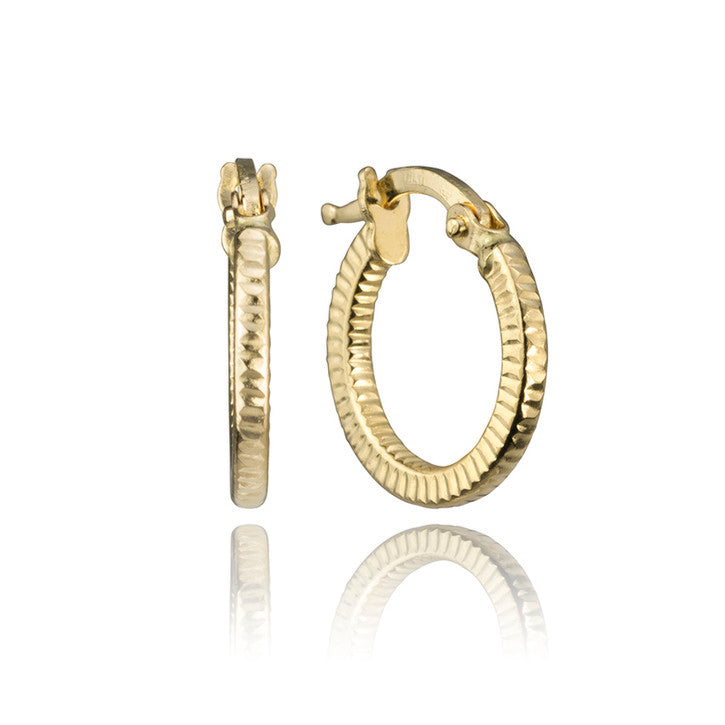 18K Yellow Gold Dented Hoop Earrings