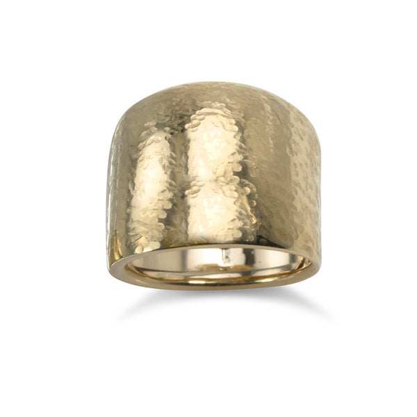 14K Yellow Gold Hammered Ring