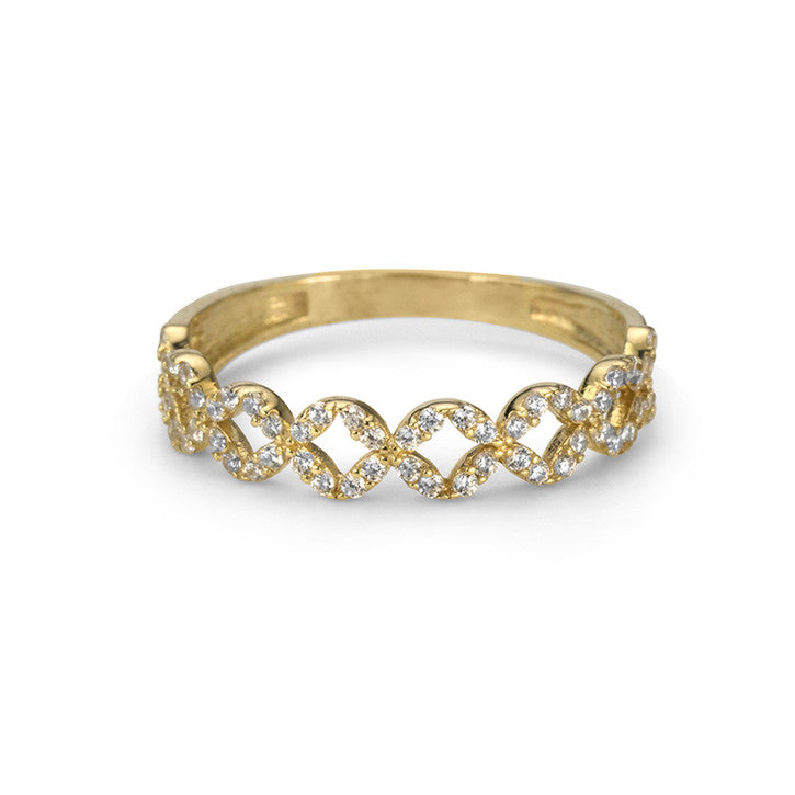10K Yellow Gold Cubic Zirconia Stackable Ring