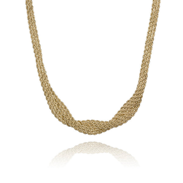 18K Yellow Gold Multi Strand Rope Link Twisted Necklace