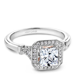Noam Carver 14K White Gold Halo Engagement Ring (B070-01A)
