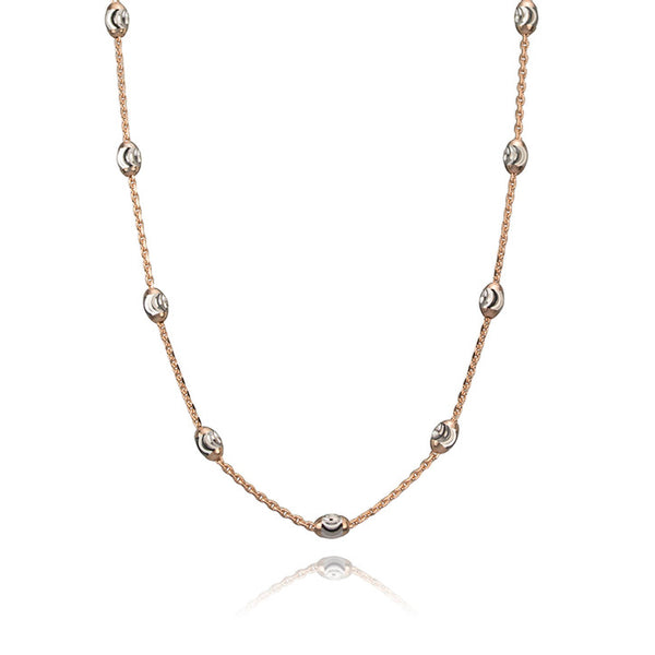 14K Rose and White Gold Bead Necklace