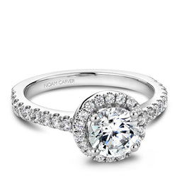 Noam Carver 14K White Gold Diamond Halo Engagement Ring (B029-01A)