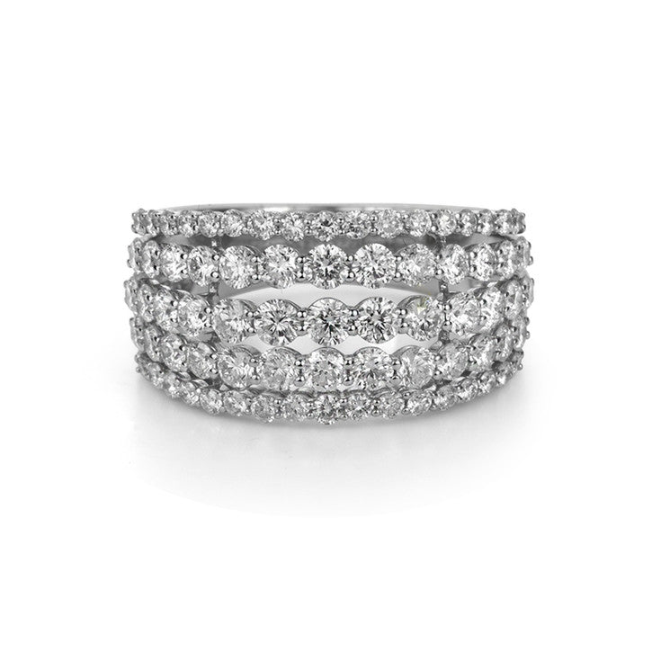 14K White Gold Four Row Diamond Ring