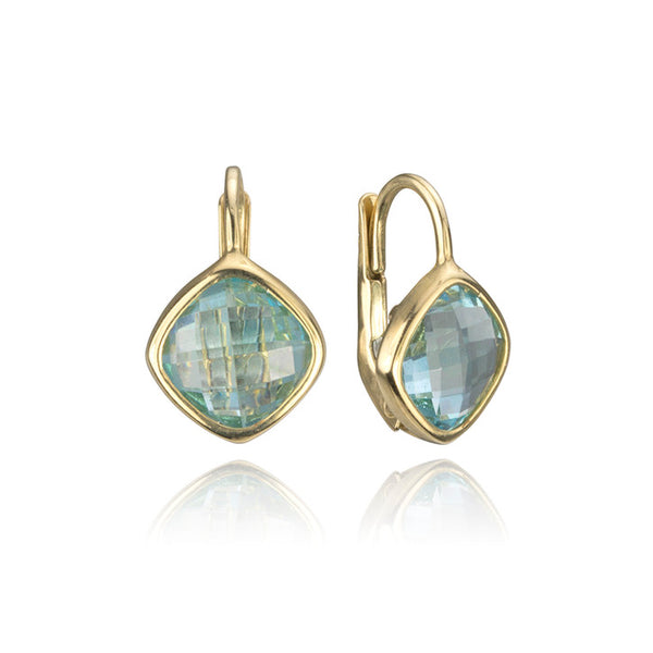 14K Yellow Gold and Blue Quartz Earrings