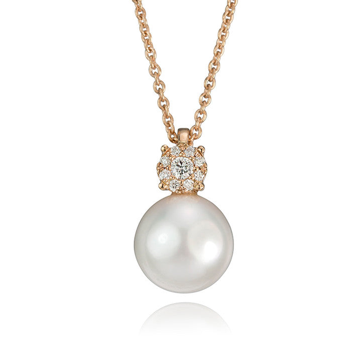 14K Rose Gold Pearl and Diamond Pendant
