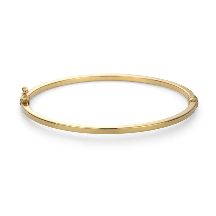 14K Yellow Gold Flat Oval Bangle