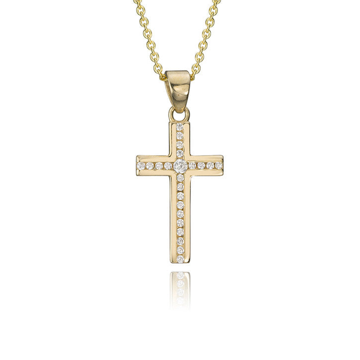 14K Yellow Gold Cubic Zirconia Cross Pendant