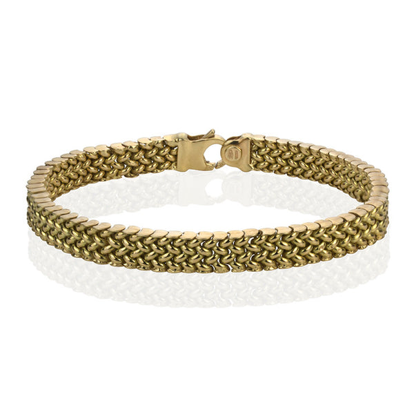 14K Yellow Gold Weave Link Bracelet