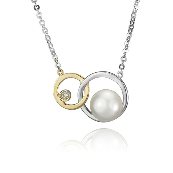 14K Yellow and White Gold Diamond and Pearl Necklace
