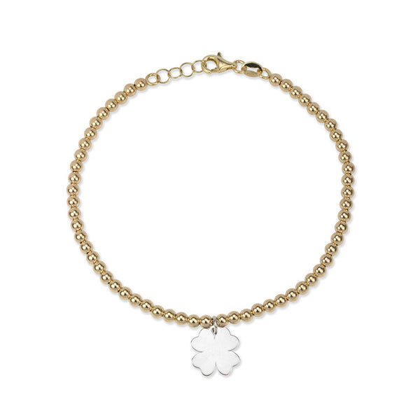 14K Yellow Gold Ball Link Bracelet with Clover Charm
