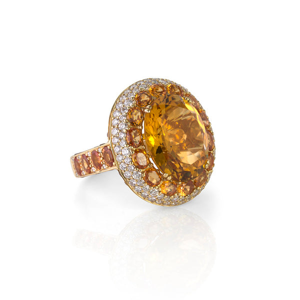 18K White Gold Citrine and Diamond Halo Ring