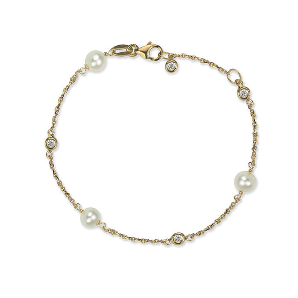 14K Yellow Gold Freshwater Pearl and Cubic Zirconia Bracelet