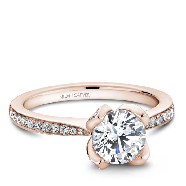 Noam Carver 14K Rose Gold Diamond Engagement Ring (B019-01RA)