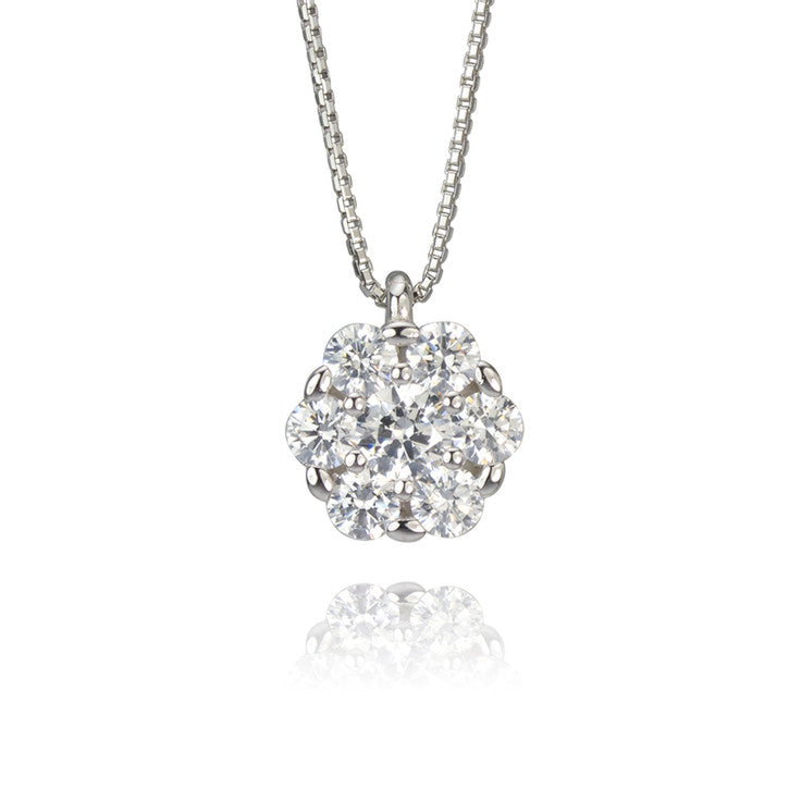 18K White Gold Box Link Chain with Cubic Zirconia Cluster Pendant