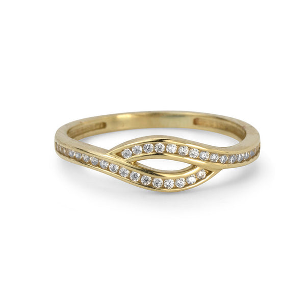 10K Yellow Gold Cubic Zirconia Overlayed Shank Ring