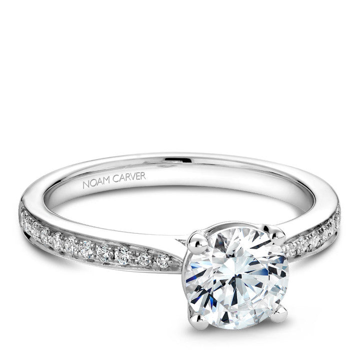 Noam Carver 14K White Gold Diamond Engagement Ring (B018-02A)