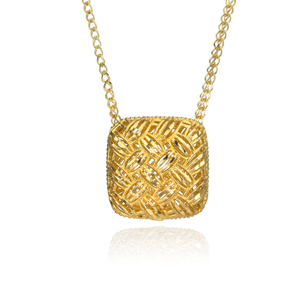 14K Yellow Gold Square Filigree Necklace