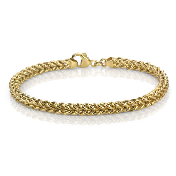 14K Yellow Gold Hollow Franco Link Bracelet