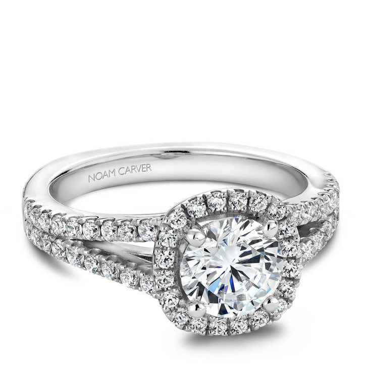 Noam Carver 14K White Gold Diamond Halo Engagement Ring (B015-01A)