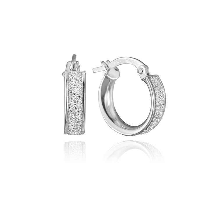 18K White Gold Frosted Hoop Earrings