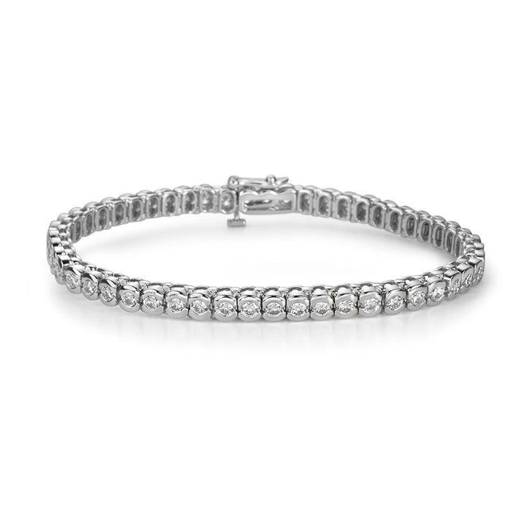 14K White Gold and Diamond Half Bezel Tennis Bracelet