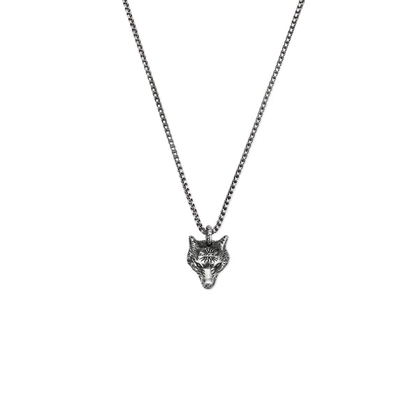 Gucci Silver Angry Forest Wolf Head Necklace