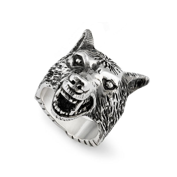 Gucci Silver Angry Forest Wolf Head Ring