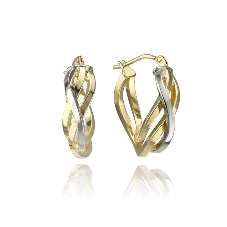 18K Yellow and White Gold Two Tone Twisting Earrings
