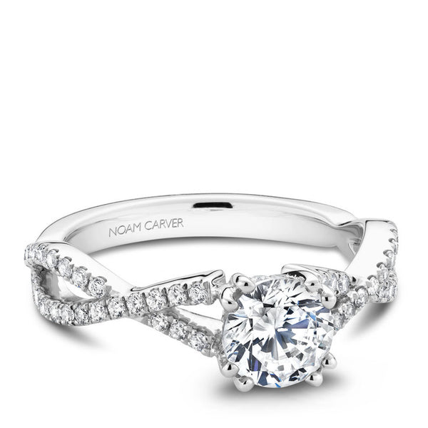 Noam Carver 14K White Gold Twist Band Diamond Engagement RIng (B004-03A)