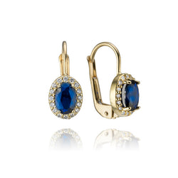 14K Yellow Gold Blue Cubic Zirconia Drop Earrings