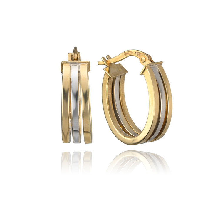 18K Yellow and White Gold Two Tone Hoop Earrings