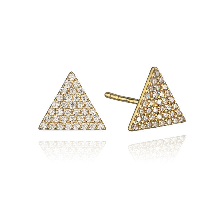 10K Yellow Gold Cubic Zirconia Trigon Earrings