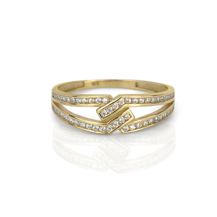 10K Yellow Gold Cubic Zirconia Split Shank Ring