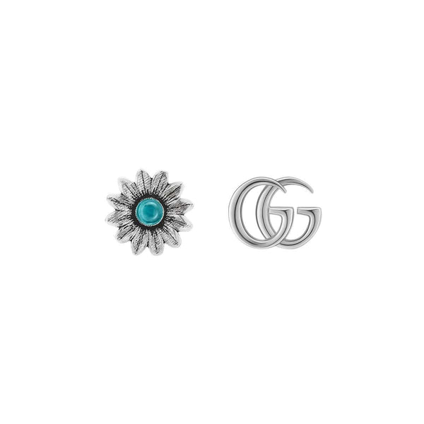 Gucci Silver Marmont Double G Flower Stud Earrings