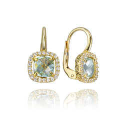 18K Yellow Gold Topaz and Cubic Zirconia Halo Drop Earrings