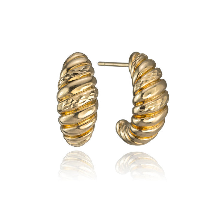 18K Yellow Gold Grooved Crescent Earrings
